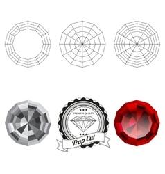 Set trap cut jewel views vector