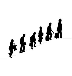 silhouette people with bag walked up the stairs vector image