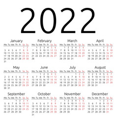 Simple calendar 2022 monday vector