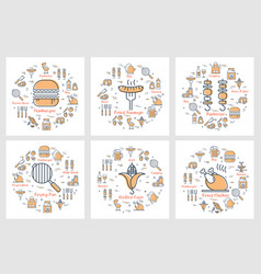 six linear concept of picnic food and equipment vector image