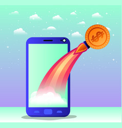 Smartphone with rocket start up and coin vector