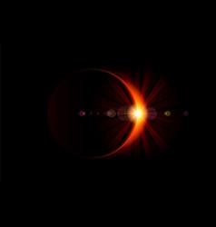 Solar eclipse bright flare on moon edge vector
