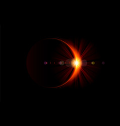 Solar eclipse bright flare on the moon edge vector