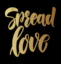 Spread love lettering phrase on dark background vector