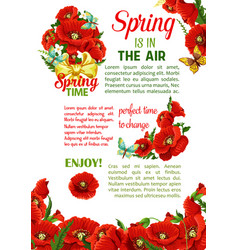 Springtime holidays poster with spring flower vector