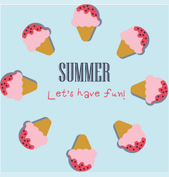 summer holiday background with cute ice cream vector image