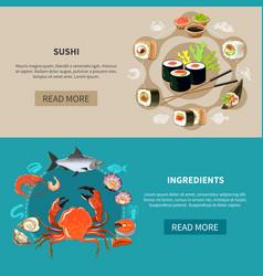 sushi banner set vector image