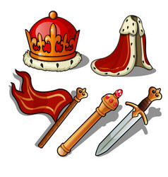 the attributes of the king crown mantle banner vector image
