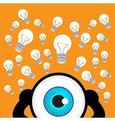 The blue eye thinking with many idea vector image