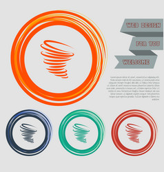Tornado icon on red blue green orange buttons vector