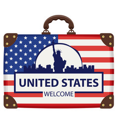 travel bag with flag of usa and statue of liberty vector image