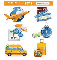 travel icons set 1 vector image