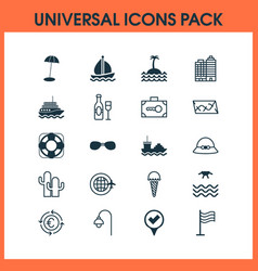 travel icons set with sea buildings complex vector image