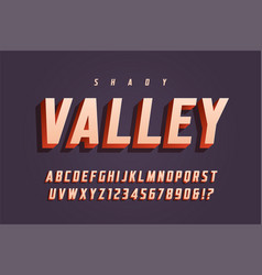 trendy 3d display font design alphabet vector image