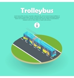 Trolleybus on Part of Road Web Banner Flat 3d vector image