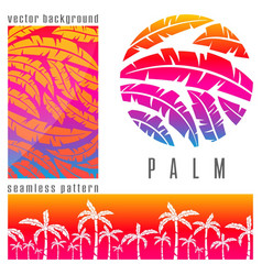 Tropical palm tree pink vector