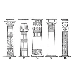 Types of column egyptian vintage engraving vector