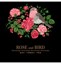 Vintage background with roses and bird vector