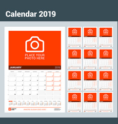 wall calendar for 2019 year set of 12 months vector image