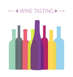 Wine tasting card with colored bottles vector