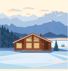 winter mountain landscape with wooden house vector image