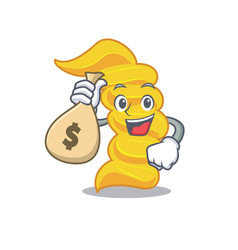 with money bag fusilli pasta character cartoon vector image