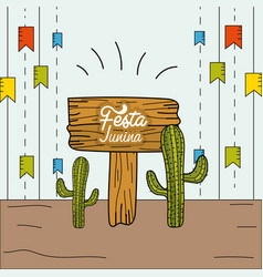 festa junina with party flags and cactuses vector image