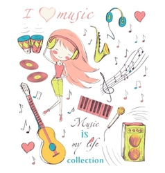girl and music vector image vector image