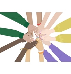 Group of Diverse Hands Together isolated Team of vector image