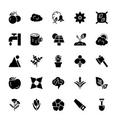 nature and ecology solid icons 2 vector image
