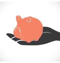 piggy in hand stock vector image
