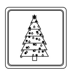 sketch silhouette square frame with christmas tree vector image vector image