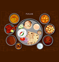Traditional punjabi cuisine and food meal thali of vector