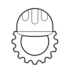 gear machine with helmet vector image vector image
