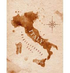 Map Italy retro vector image vector image