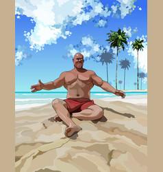 satisfied muscular man having fun on the beach vector image