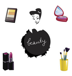 set of decorative cosmetics isolated on white vector image