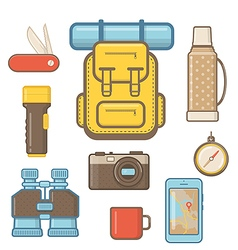 Camping and Hiking equipment Elements vector image
