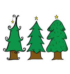 christmas tree drawing set vector image vector image