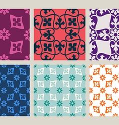 Colorful set of seamless floral patterns vintage vector image