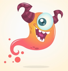Cute cartoon pink ghost with two horns vector image vector image
