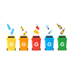 recycle bins set vector image