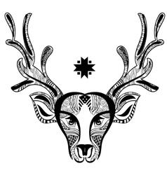 Christmas deer head doodle zentangle vector