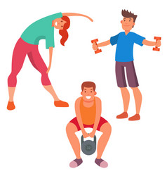 fitness people gym sporty club icons athlet vector image vector image