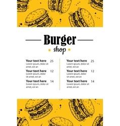 hand drawn burger menu Vintage hand drawn vector image