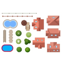 Home landscape and property elements vector image