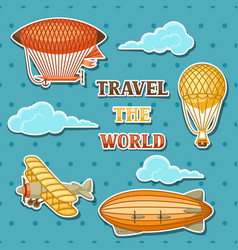 set of retro air transport vintage aerostat vector image vector image