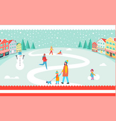 snowy winter park poster vector image
