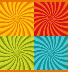 spiral starburst sunburst background set lines vector image