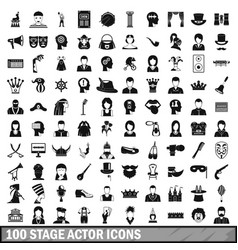 100 stage actor icons set simple style vector